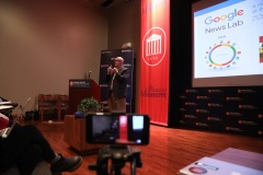 Mike Reilley opens his Meek School of Journalism presentation on Google Maps. (Photo courtesy Ole Miss)